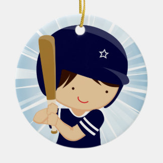 Baseball Boy Batter in Blue and White Ceramic Ornament