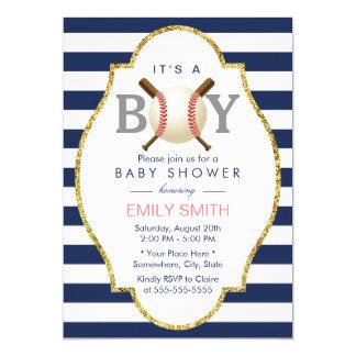 "Baseball Boy Modern Navy Blue Stripes Baby Shower 5"" X 7"" Invitation Card"