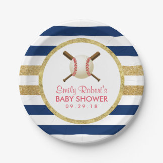 Baseball Boy Navy Blue & Gold Stripes Baby Shower 7 Inch Paper Plate