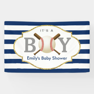 Baseball Boy Navy Blue Stripes Baby Shower Banner