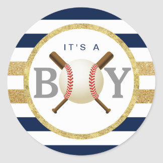 Baseball Boy Navy Blue Stripes Baby Shower Favor Classic Round Sticker
