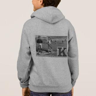 Baseball Boys Initial K Sports Rhyme Vintage Karl Hoodie