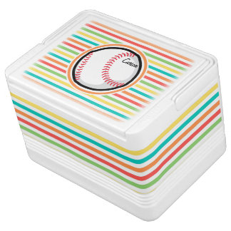 Baseball; Bright Rainbow Stripes