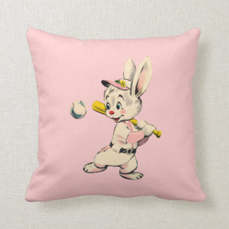 Baseball Bunny In Pink Throw Pillow