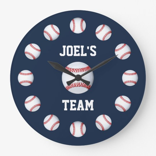 Baseball Burgundy Premium Full Colour Large Clock
