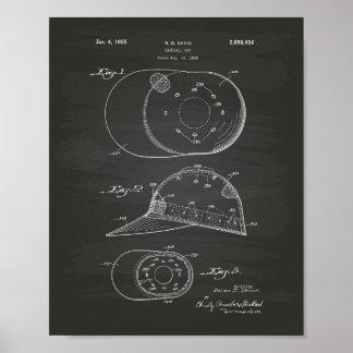 Baseball Cap 1955 Patent Art Chalkboard Poster