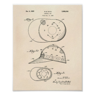 Baseball Cap 1955 Patent Art Old Peper Poster