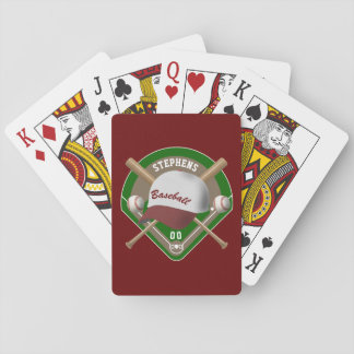 Baseball Cap Bats Diamond Personalized Name Number Playing Cards