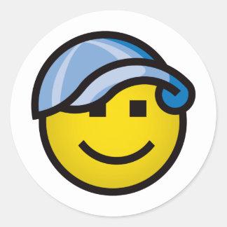 Baseball Cap Smilie - Blue Round Sticker