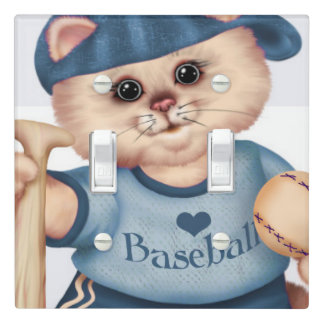 BASEBALL CAT  2 LIGHT SWITCH Double Toggle BLUE
