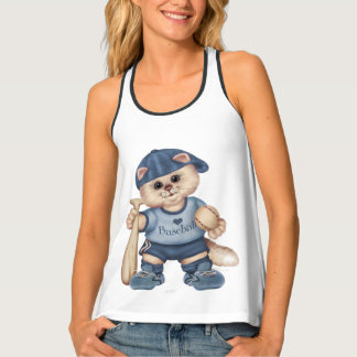 BASEBALL CAT AllOver Print Racerback TankTop 2 Tank Top