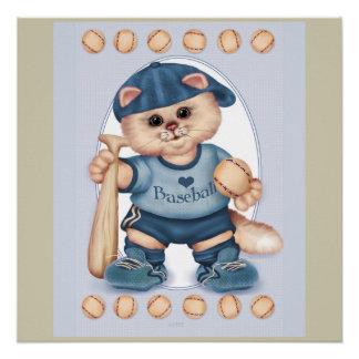 BASEBALL CAT CARTOON Perfect Poster