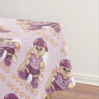 "BASEBALL CAT PINK Tablecloth COLOR LIPS 60""x104"""