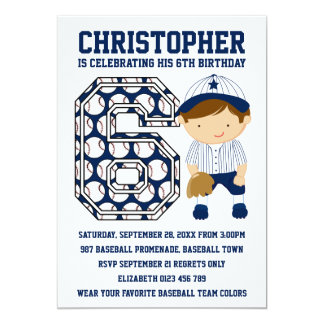 Baseball Catcher Blue White 6th Birthday Party 5x7 Paper Invitation Card