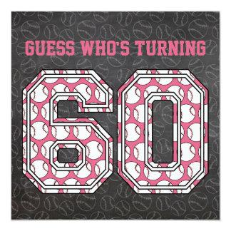 "Baseball Chalkboard Pink 60th Birthday Party 5.25"" Square Invitation Card"