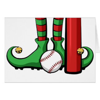 Baseball Christmas Elf Feet Card