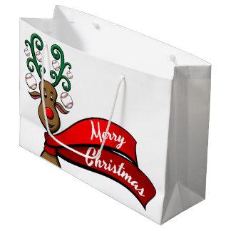 Baseball Christmas Reindeer Large Gift Bag