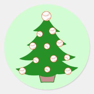 Baseball Christmas Tree Classic Round Sticker