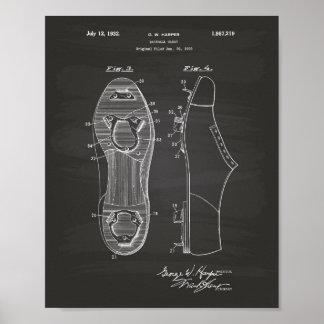 Baseball Cleat 1928 Patent Art Chalkboard Poster