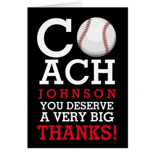 Baseball Coach Custom Name Thank You Card