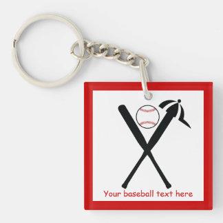 Baseball crossed bats and cap black red custom keychain