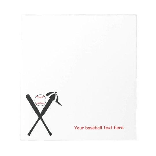Baseball crossed bats and cap black, red custom notepad