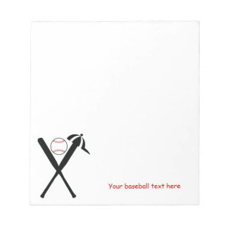 Baseball crossed bats and cap black, red custom notepads