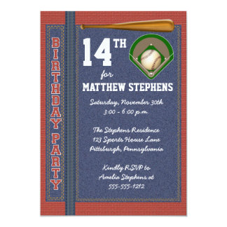 "Baseball Denim Bricks Rustic Sports Birthday Party 5"" X 7"" Invitation Card"