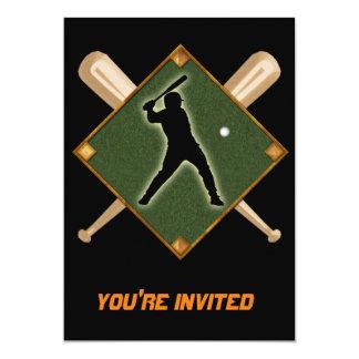 "Baseball Diamond Batter 1 5"" X 7"" Invitation Card"