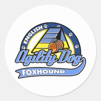 Baseball English Foxhound Agility Round Sticker