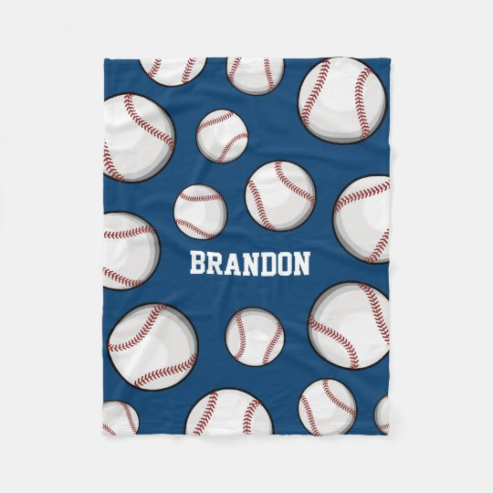 Baseball Fan Custom Name Blue Fleece Blanket