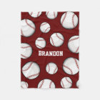Baseball Fan Custom Name Maroon Fleece Blanket