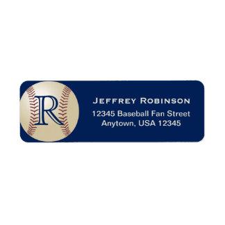 Baseball Fan Name and Address Label Monogram