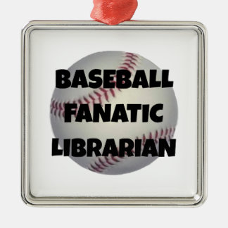Baseball Fanatic Librarian Metal Ornament