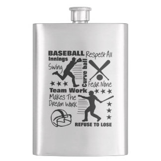 Baseball Fans Quotes And Graphics Sporty Design Hip Flask