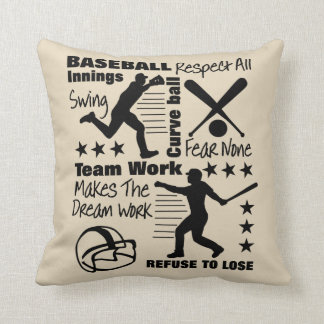 Baseball Fans Quotes And Graphics Sporty Design Throw Pillow