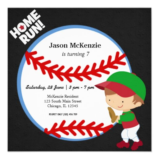 Baseball Fielder Personalized Invitation