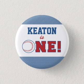 Baseball First Birthday Button
