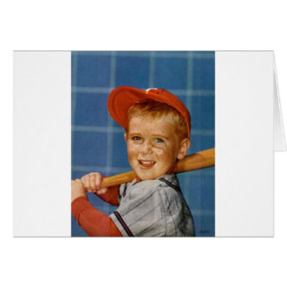 Baseball game, boy,dog card