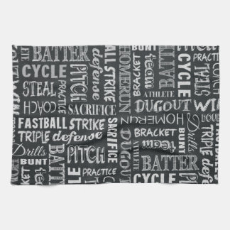 Baseball Game Chalkboard Words And Terms Towels