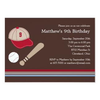 Baseball Gears - Birthday Party Invitation