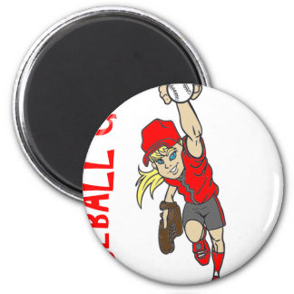 BASEBALL GIRL 2 INCH ROUND MAGNET