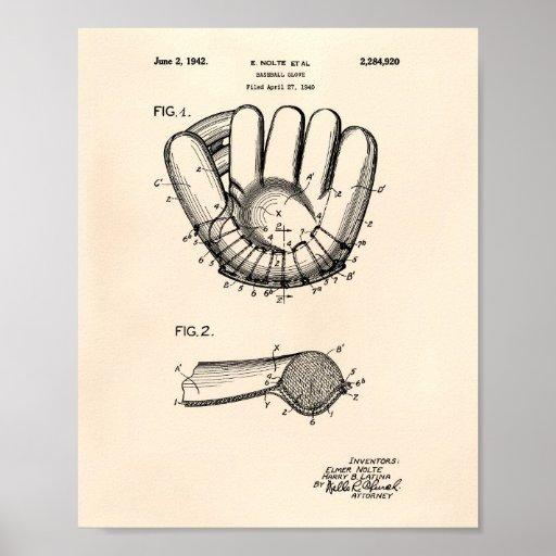 Baseball Glove 1942 Patent Art Old Peper Poster