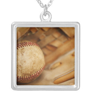 Baseball Glove and Ball Silver Plated Necklace
