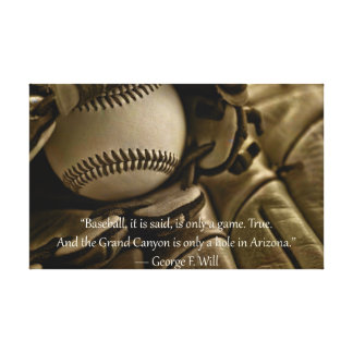 Baseball, Glove and George Will Quote Canvas Print