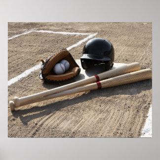 Baseball glove, balls, bats and baseball helmet poster