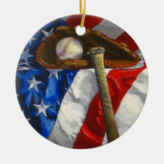 Baseball, glove, bat & American flag Ceramic Ornament