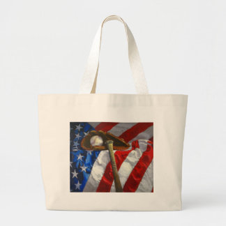 Baseball, glove, bat & American flag Large Tote Bag