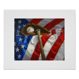 Baseball, glove, bat & American flag poster