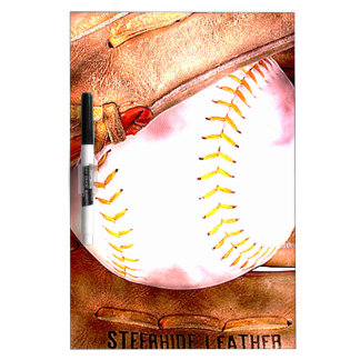 Baseball & Glove Grunge Style Dry Erase Whiteboards